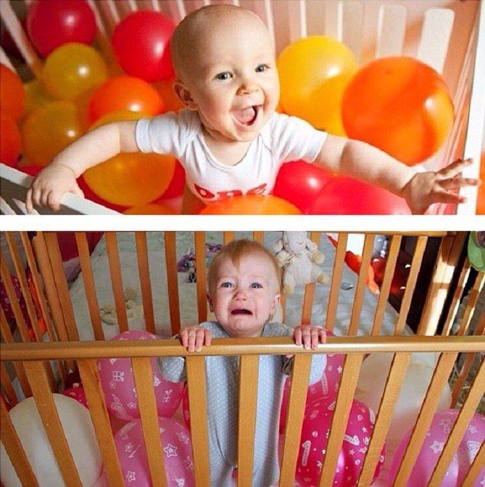 смешной малыш в кроватке
